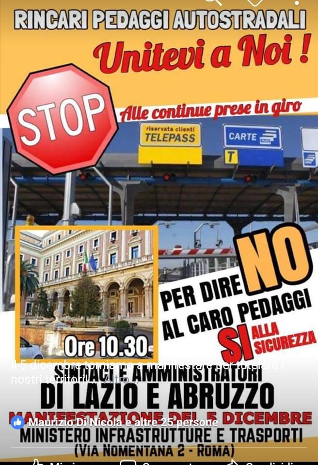 Caro pedaggi e sicurezza A24/A25, i Sindaci tornano a manifestare a Roma
