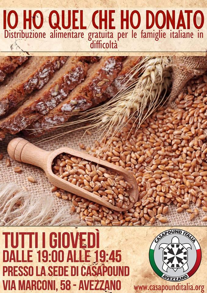 Distribuzione alimentare gratuita per le famiglie italiane bisognose a cura di CasaPound