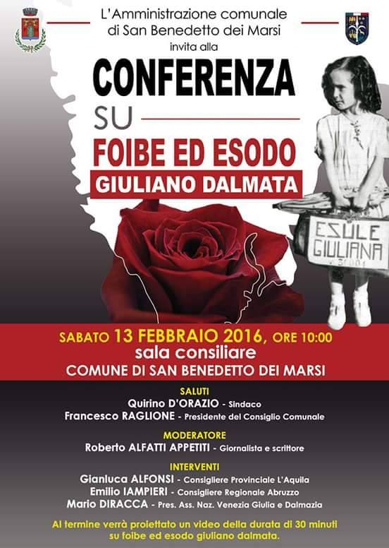 Foibe ed esodo giuliano dalmata: conferenza a San Benedetto dei Marsi
