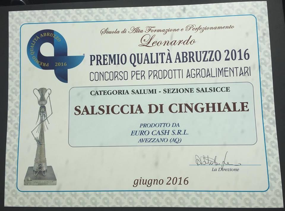 """Azienda avezzanese vincitrice del """"Premio qualità Abruzzo"""" per la salsiccia di cinghiale"""