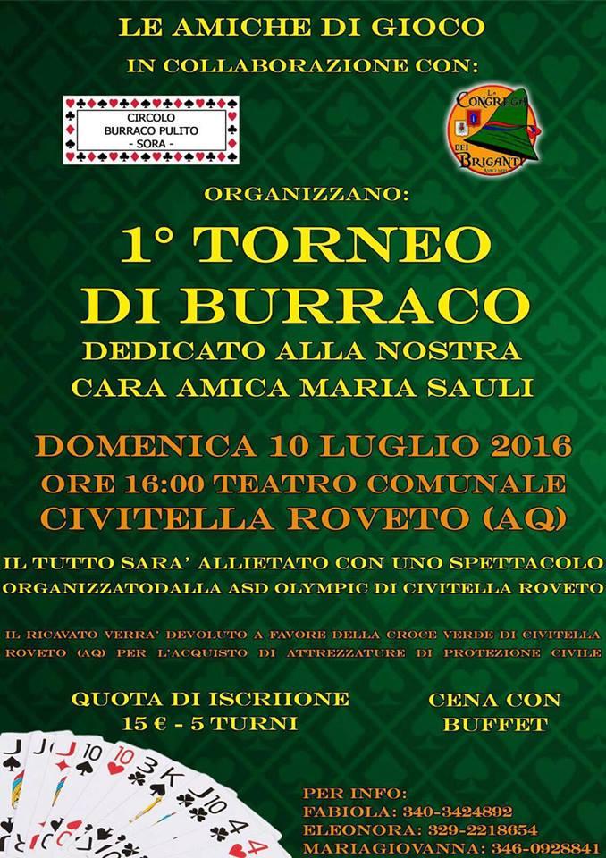 Primo Torneo di Burraco dedicato a Maria Sauli