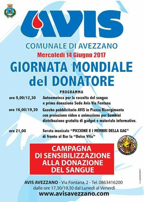 """Avezzano, l'Avis comunale organizza la """"Giornata mondiale del donatore"""""""