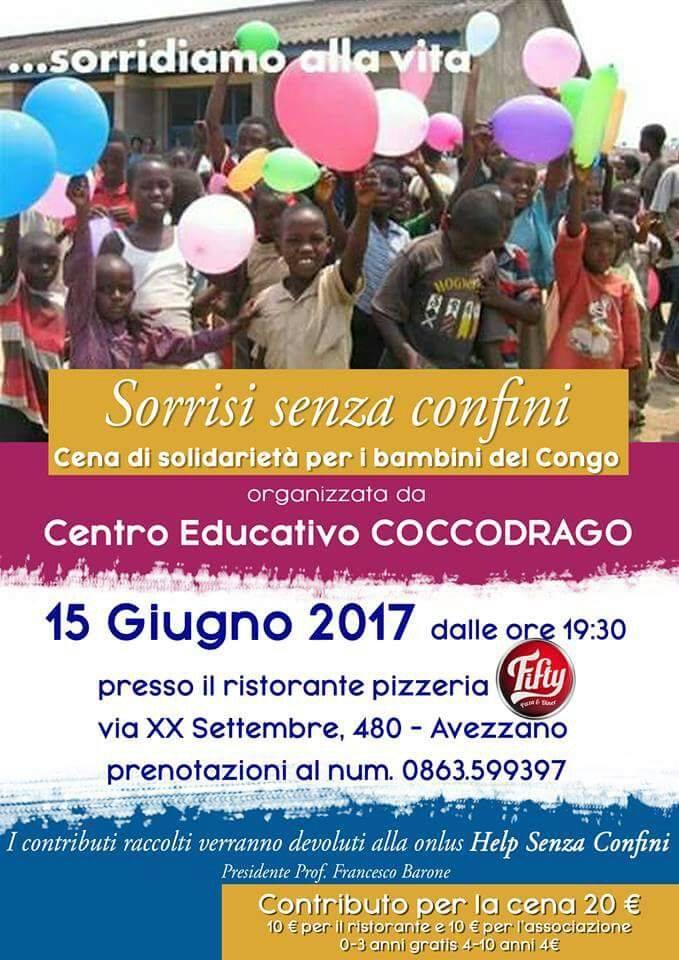 """""""Cena di solidarietà per i bambini del Congo"""" il 15 Giugno ad Avezzano alla pizzeria Fifty"""