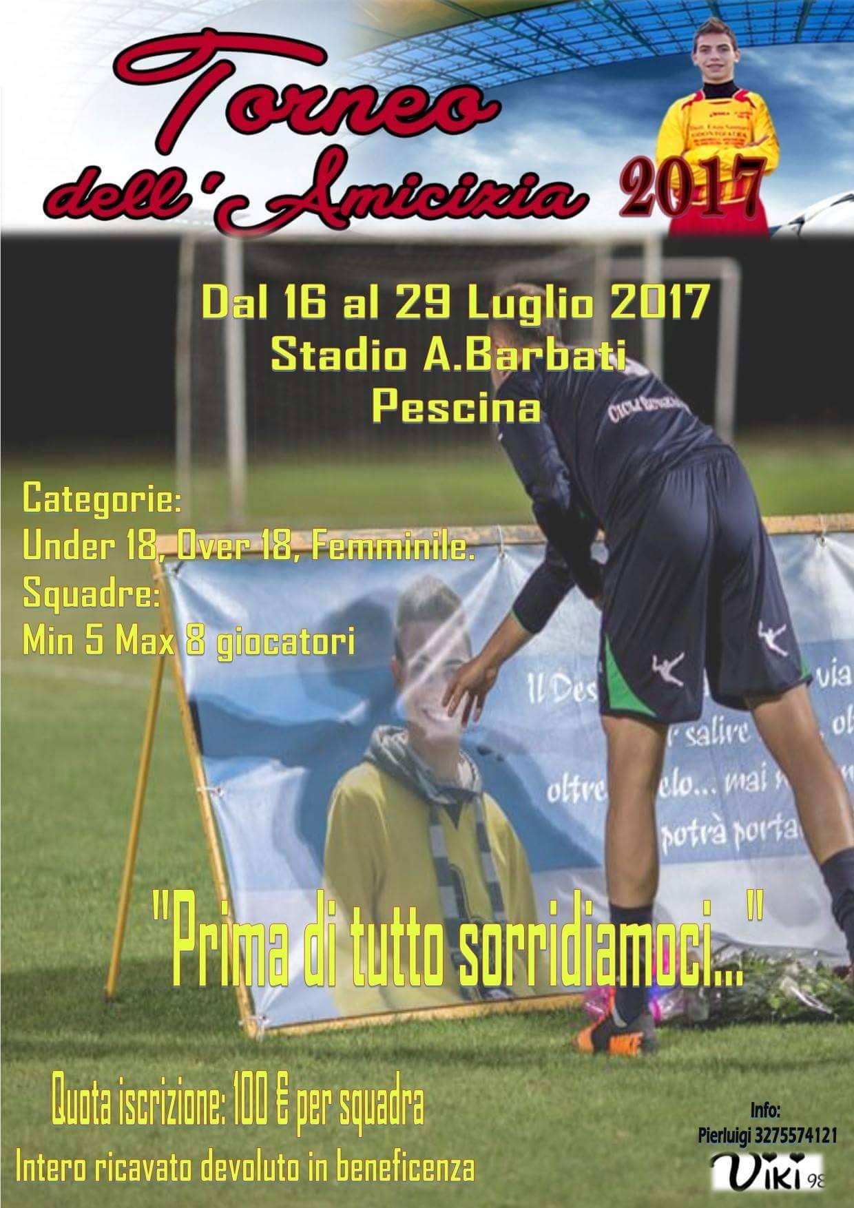 """Pescina, dal 16 Luglio al via """"Il torneo dell'amicizia"""" dedicato al giovane Vincenzo Zauri"""