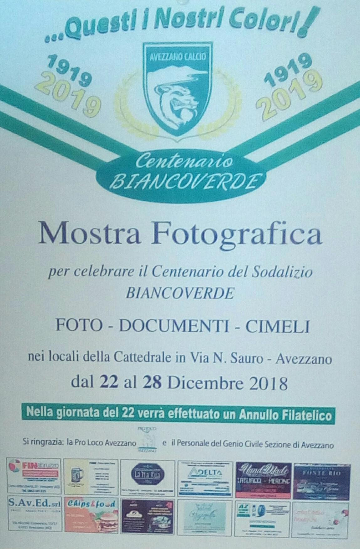 Mostra fotografica per il centenario dell'Avezzano Calcio