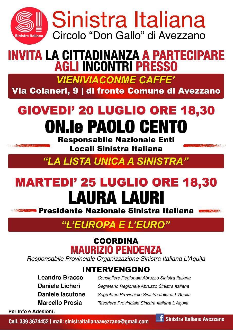 """Gli incontri organizzati da """"Sinistra Italiana"""". Leggi come fare per info e adesioni"""
