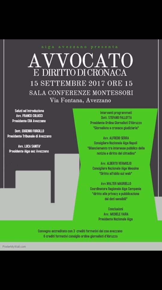 """""""Avvocato e Diritto di Cronaca"""", convegno ad Avezzano"""