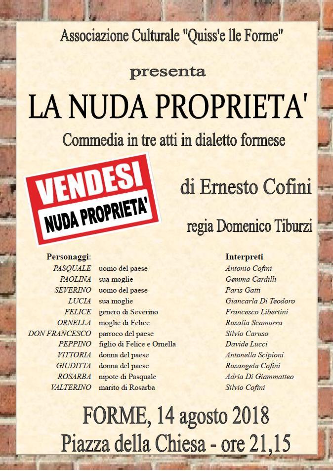 """""""La nuda proprietà"""" commedia in tre atti in dialetto formese"""