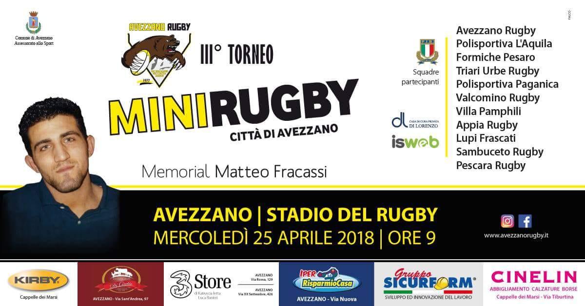 Memorial Matteo Fracassi, ad Avezzano oltre 500 baby rugbysti nella giornata del 25 aprile
