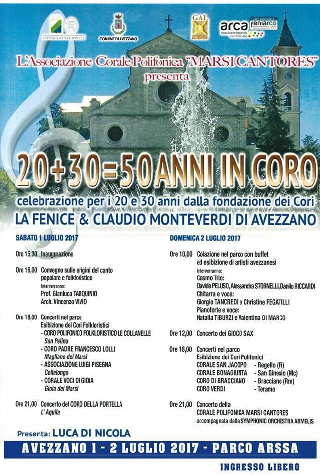 """""""30+20=50 anni in coro"""", appuntamento al Parco Arssa"""