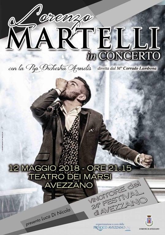 Stasera, al Teatro dei Marsi, il concerto del tenore Lorenzo Martelli, vincitore del 24°Festival di Avezzano