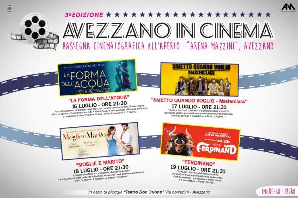 Terzo compleanno per la Rassegna cinematografica all'Arena Mazzini di Avezzano, si torna a discutere di filme di notti stellate