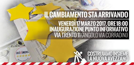 Il Meetup Amici del Movimento 5 Stelle si prepara per le prossime elezioni di Avezzano ed inaugura il nuovo Infopoint