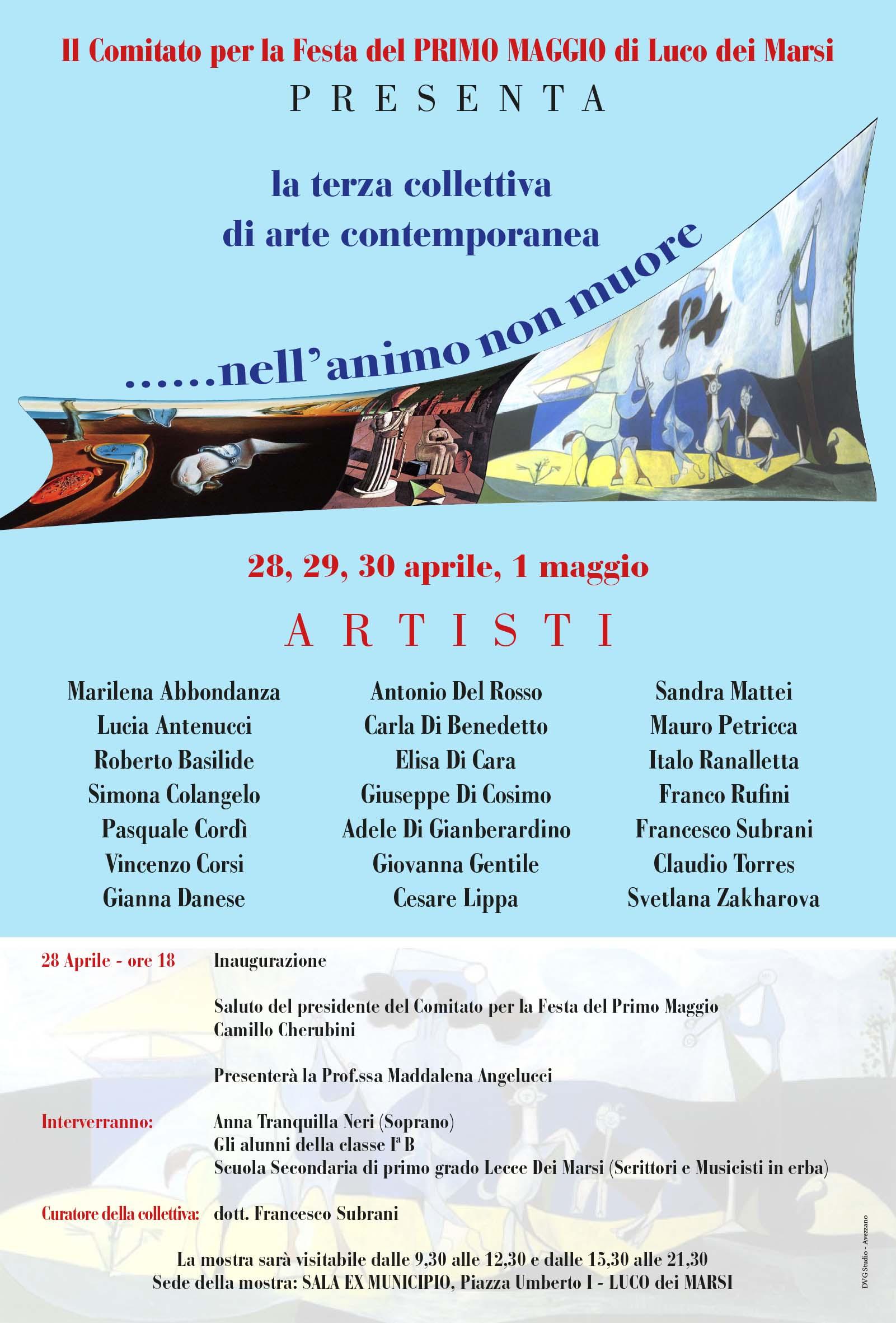 Il Comitato per la Festa del Primo Maggio di Luco dei Marsi organizza la terza Collettiva d'Arte Contemporanea
