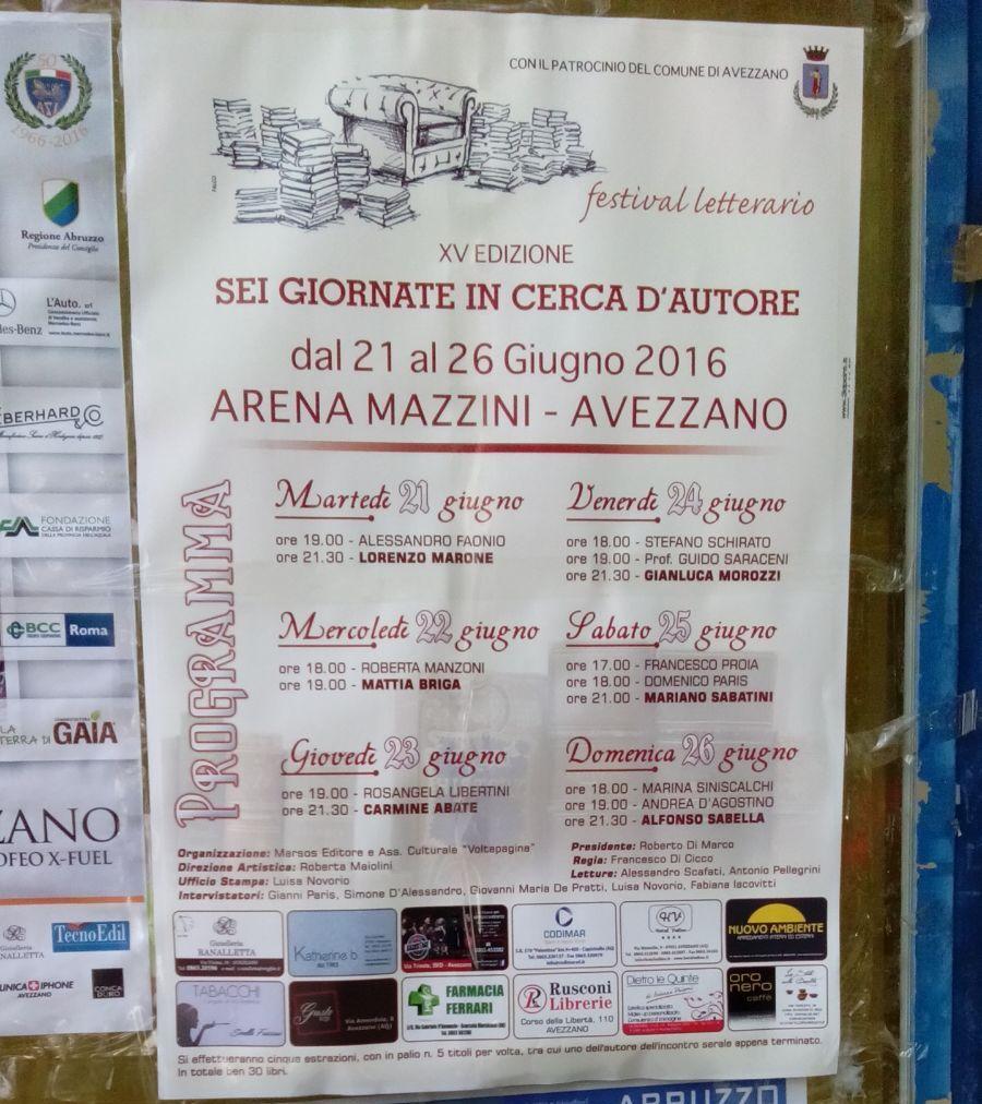 Festival letterario di Avezzano: L'evento di oggi con le locandine di ieri