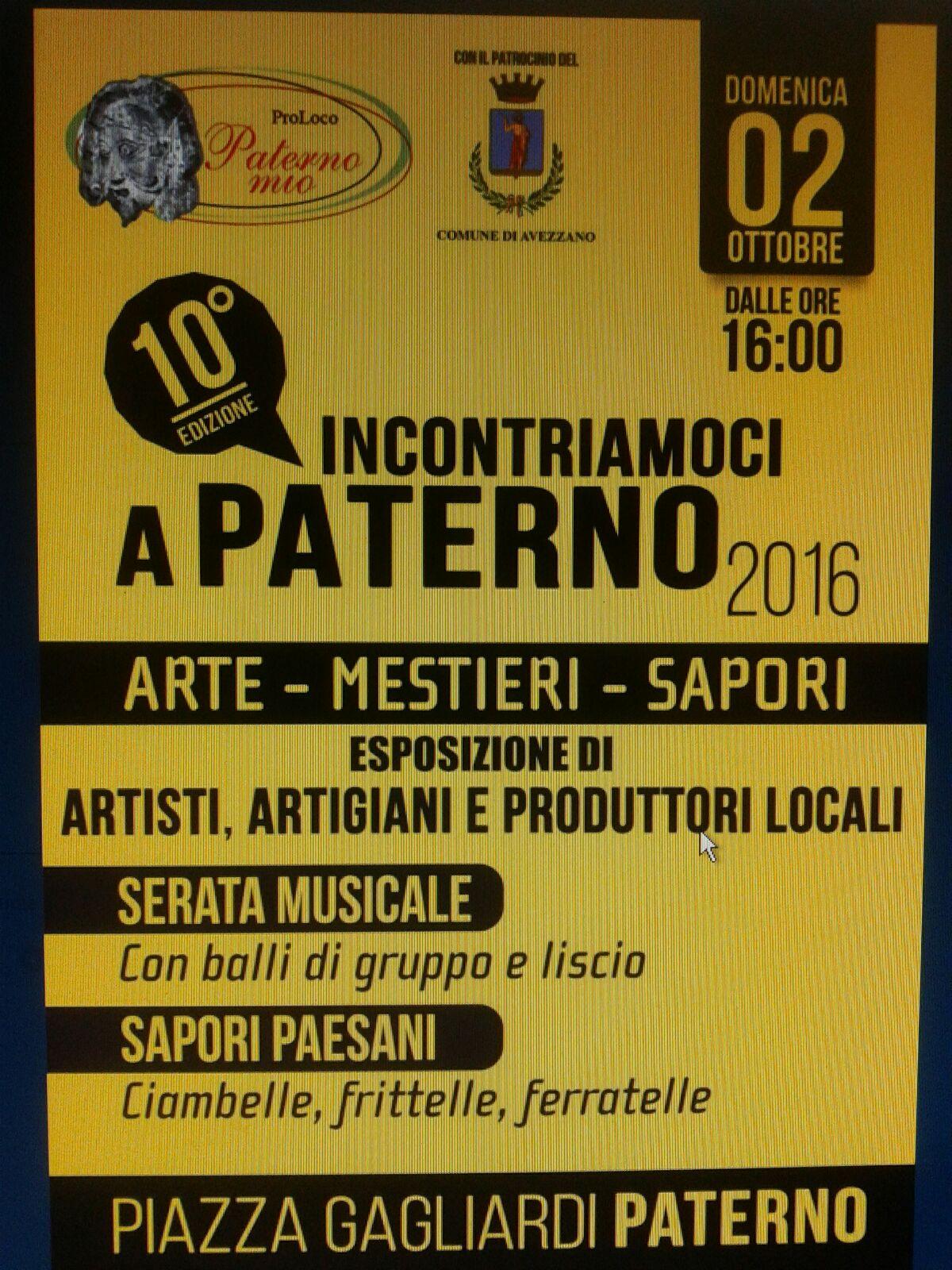 """10^ edizione di """"Incontriamoci a Paterno"""""""