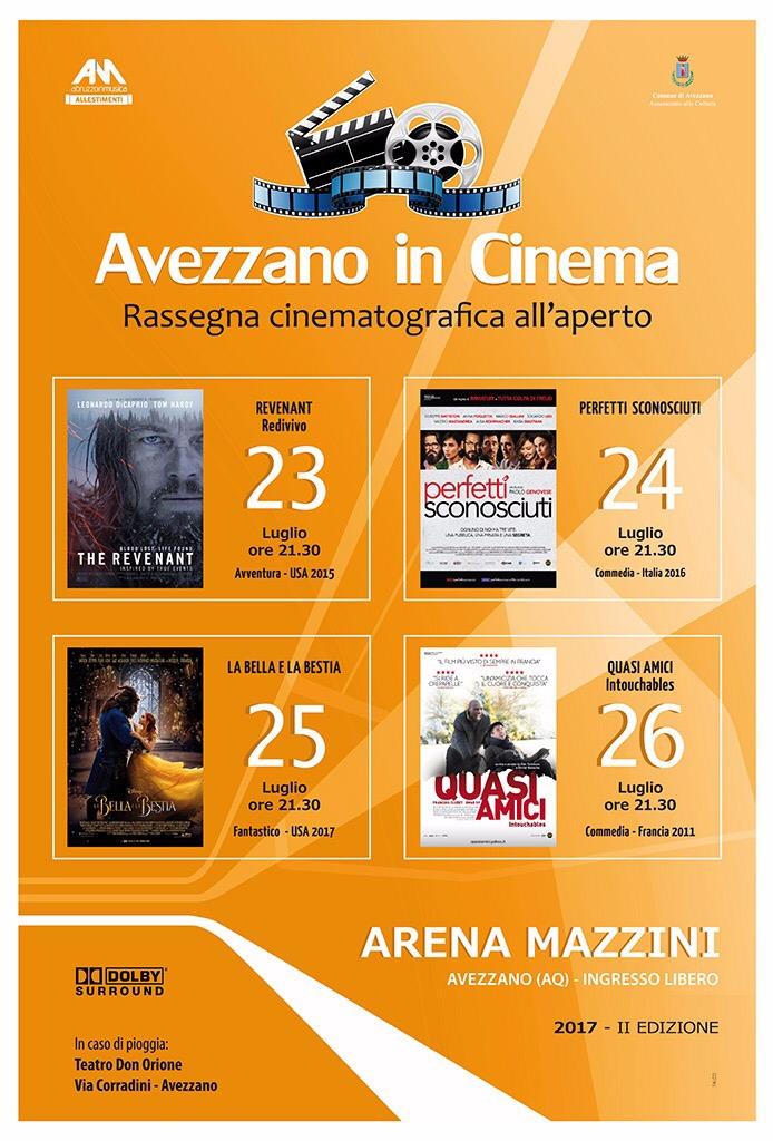 Torna il Cinema d'estate: titoli da Oscar per la seconda edizione di 'Avezzano in Cinema'