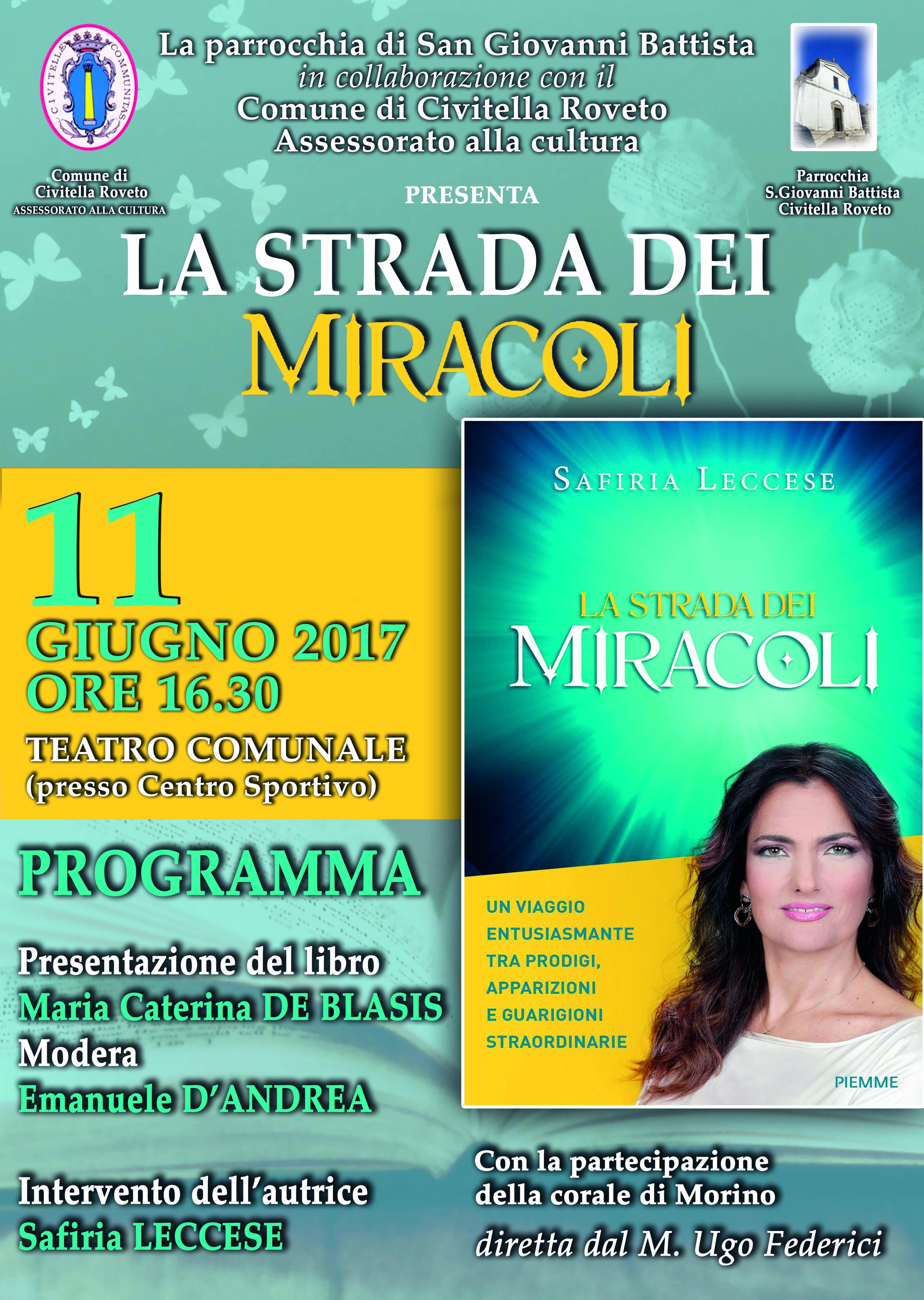 """A Civitella Roveto la presentazione del libro di Safiria Leccese """"La strada dei miracoli"""""""