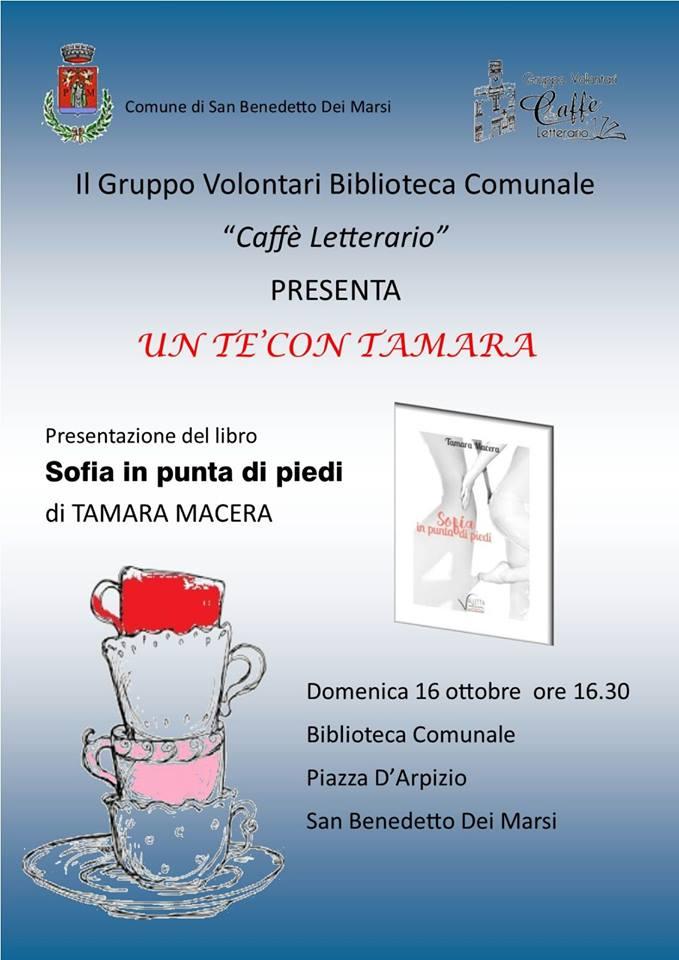 """Presentazione del romanzo """" Sofia in punta di piedi"""" a San Benedetto dei Marsi"""