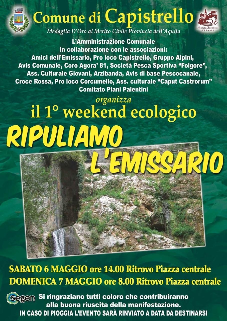 """""""Ripuliamo l'Emissario"""", al via a Capistrello il primo weekend ecologico"""