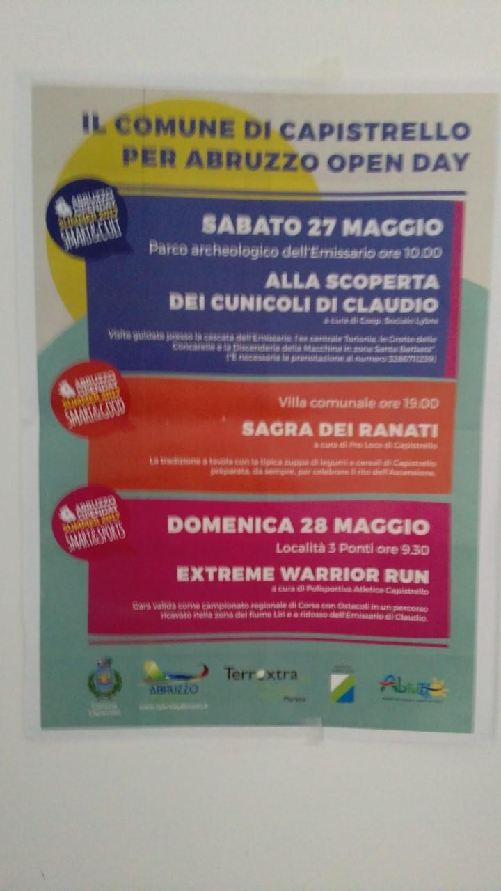 Open Day Abruzzo Summer, primo weekend ricco di appuntamenti a Capistrello