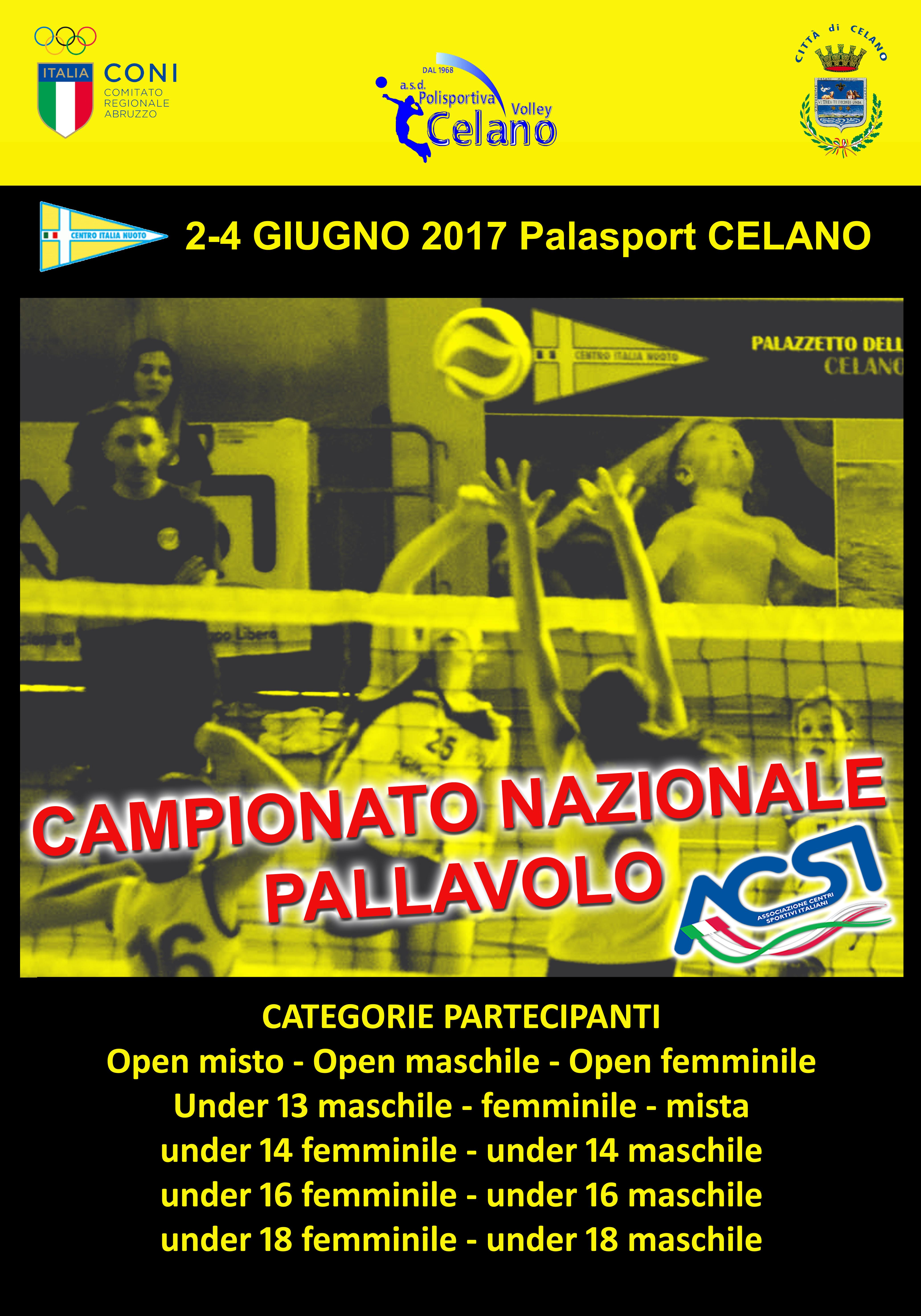 Tre giorni di Volley a Celano per il campionato nazionale Acsi