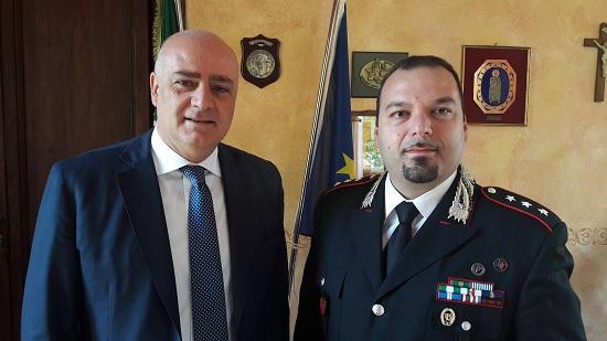 Avezzano, il sindaco De Angelis riceve in Comune il nuovo capitano della compagnia carabinieri Pietro Fiano