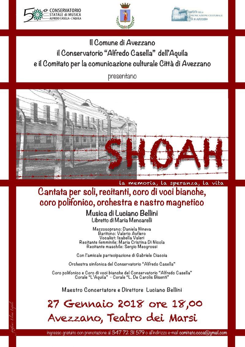 """Giornata della Memoria, appuntamento in Teatro con """"Shoah, la memoria, la speranza, la vita"""""""