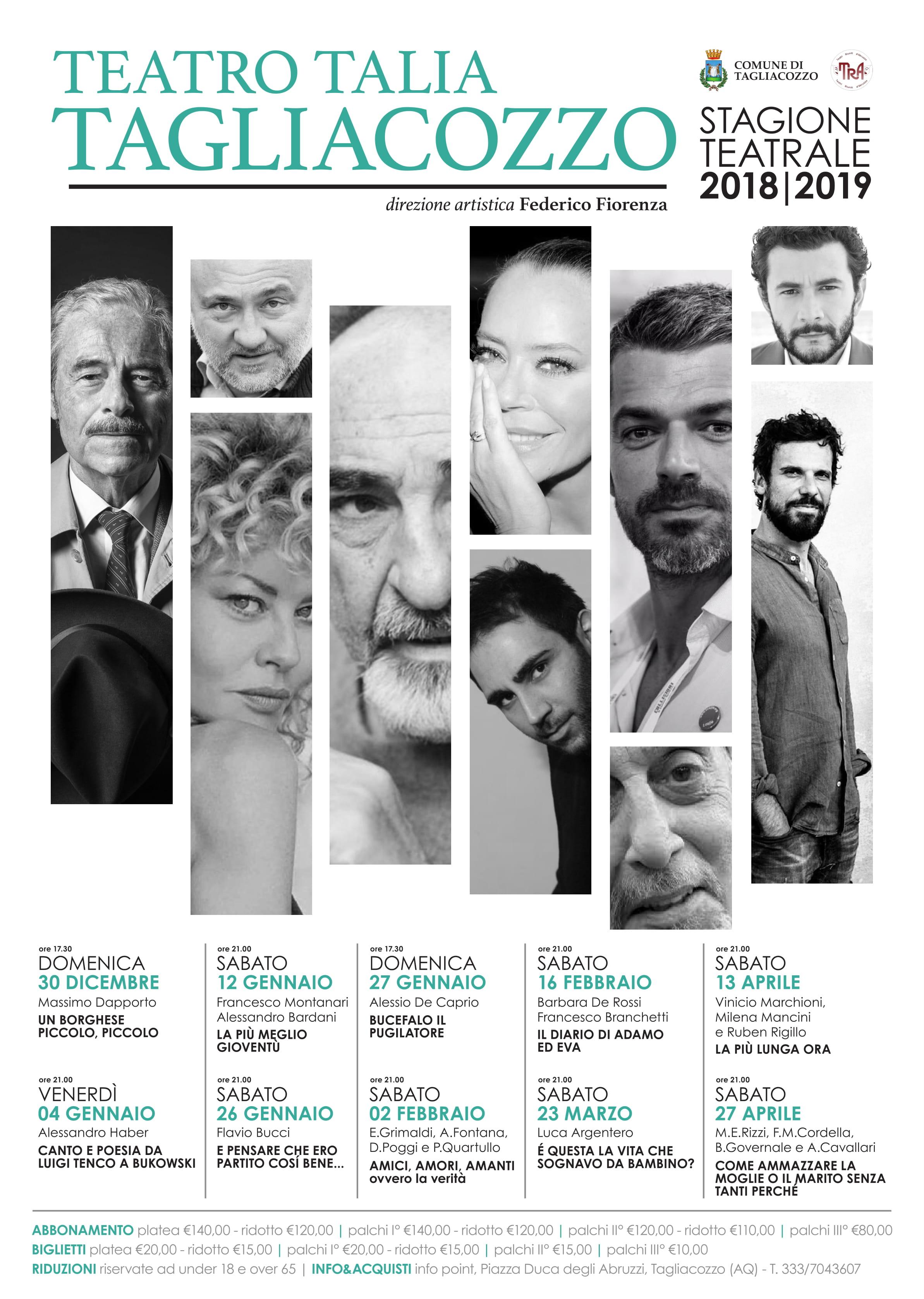 Al via la stagione teatrale del Talia a Tagliacozzo con artisti di fama internazionale
