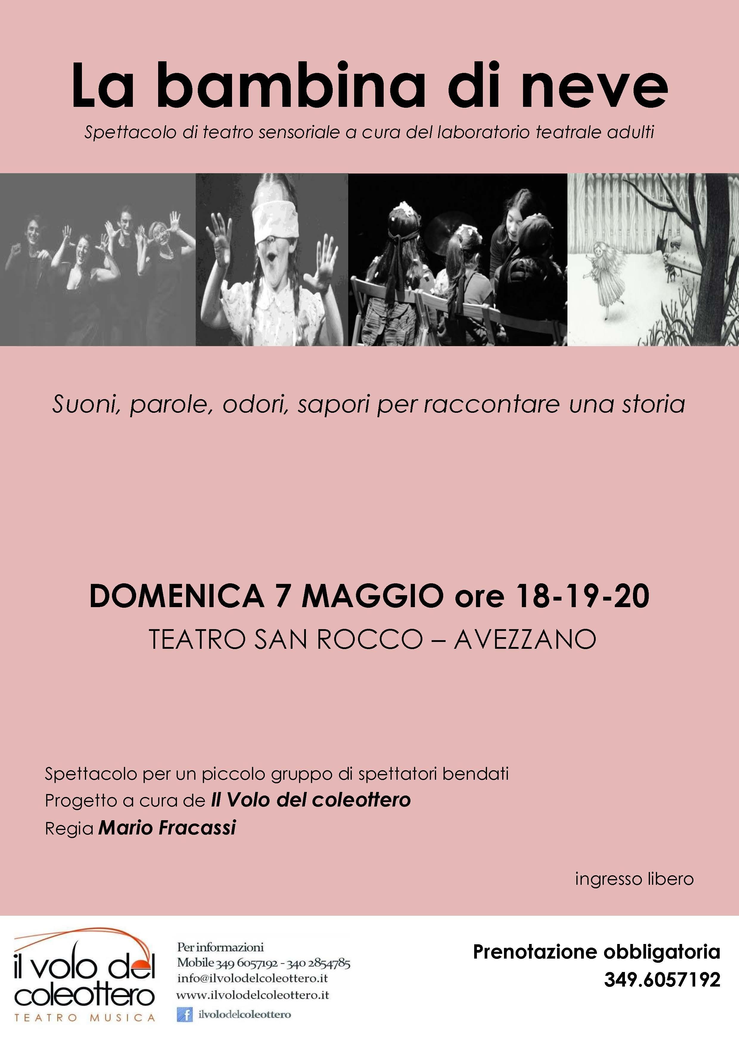 """Avezzano, al Teatro San Rocco in scena lo spettacolo sensoriale """"La bambina di neve"""""""