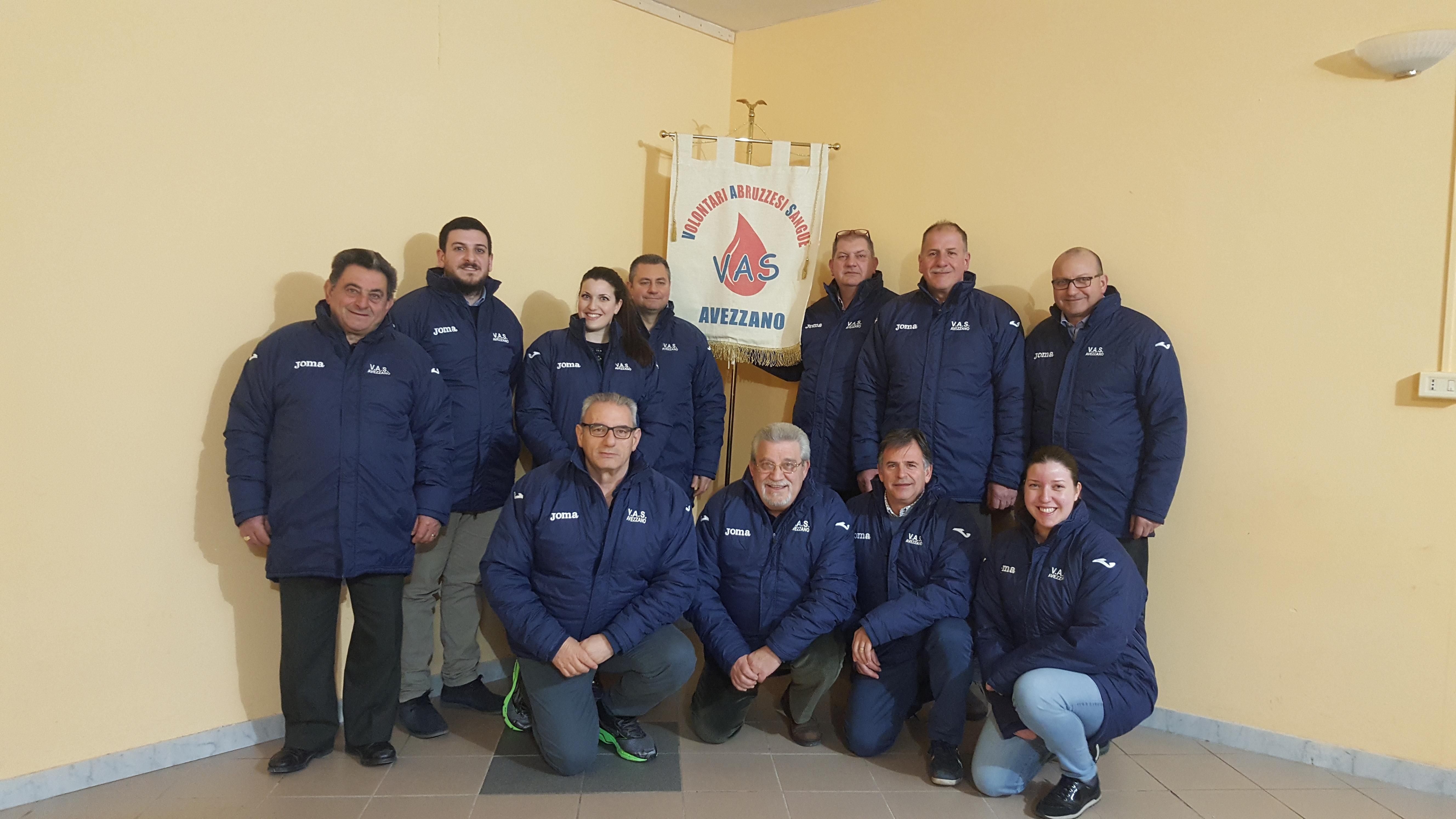 Vas (donatori sangue) di Avezzano, Panecaldo confermato presidente. Arrivano anche tre giovani