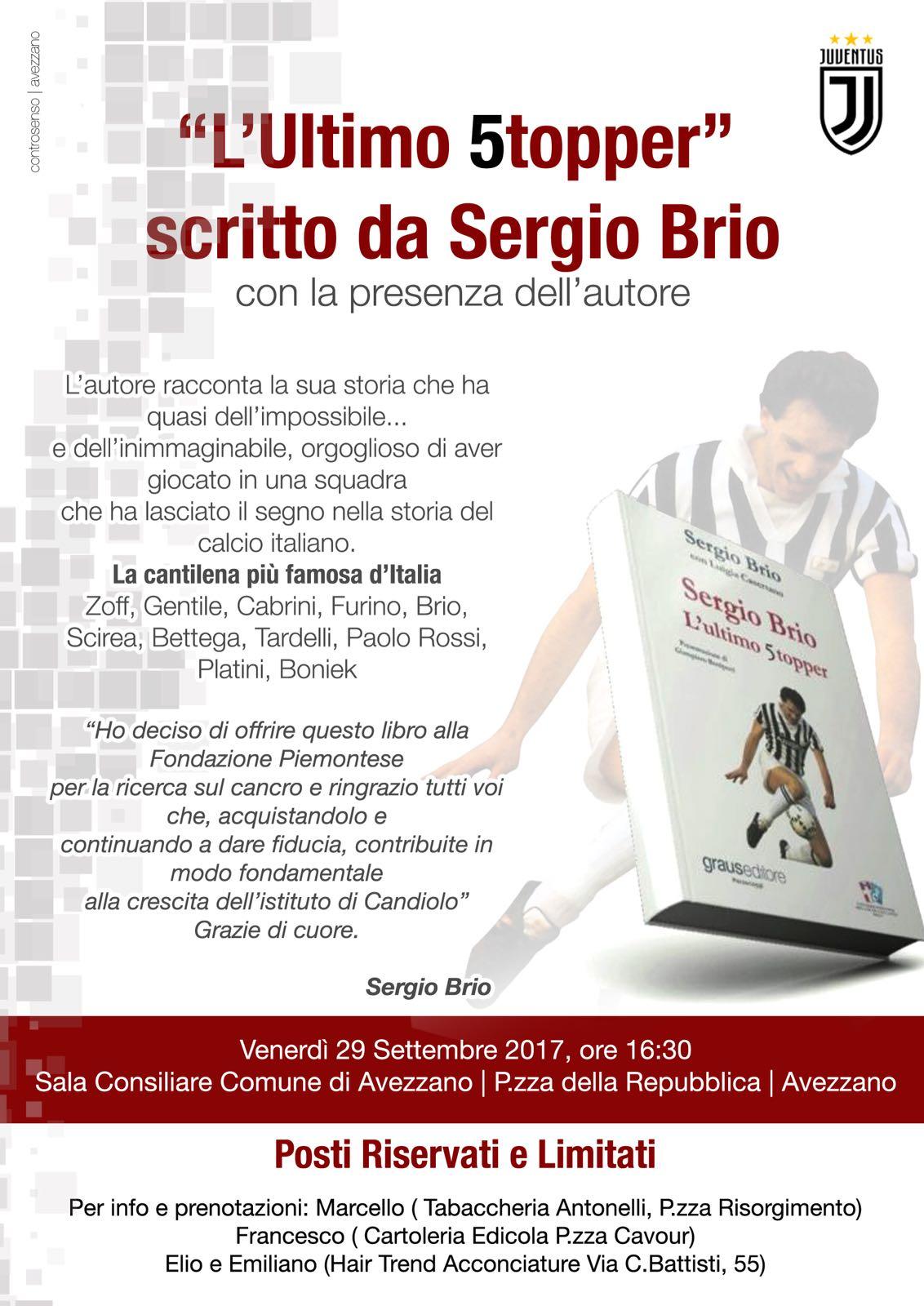"""Sergio Brio presenta ad Avezzano il suo libro """"L'ultimo 5topper"""""""