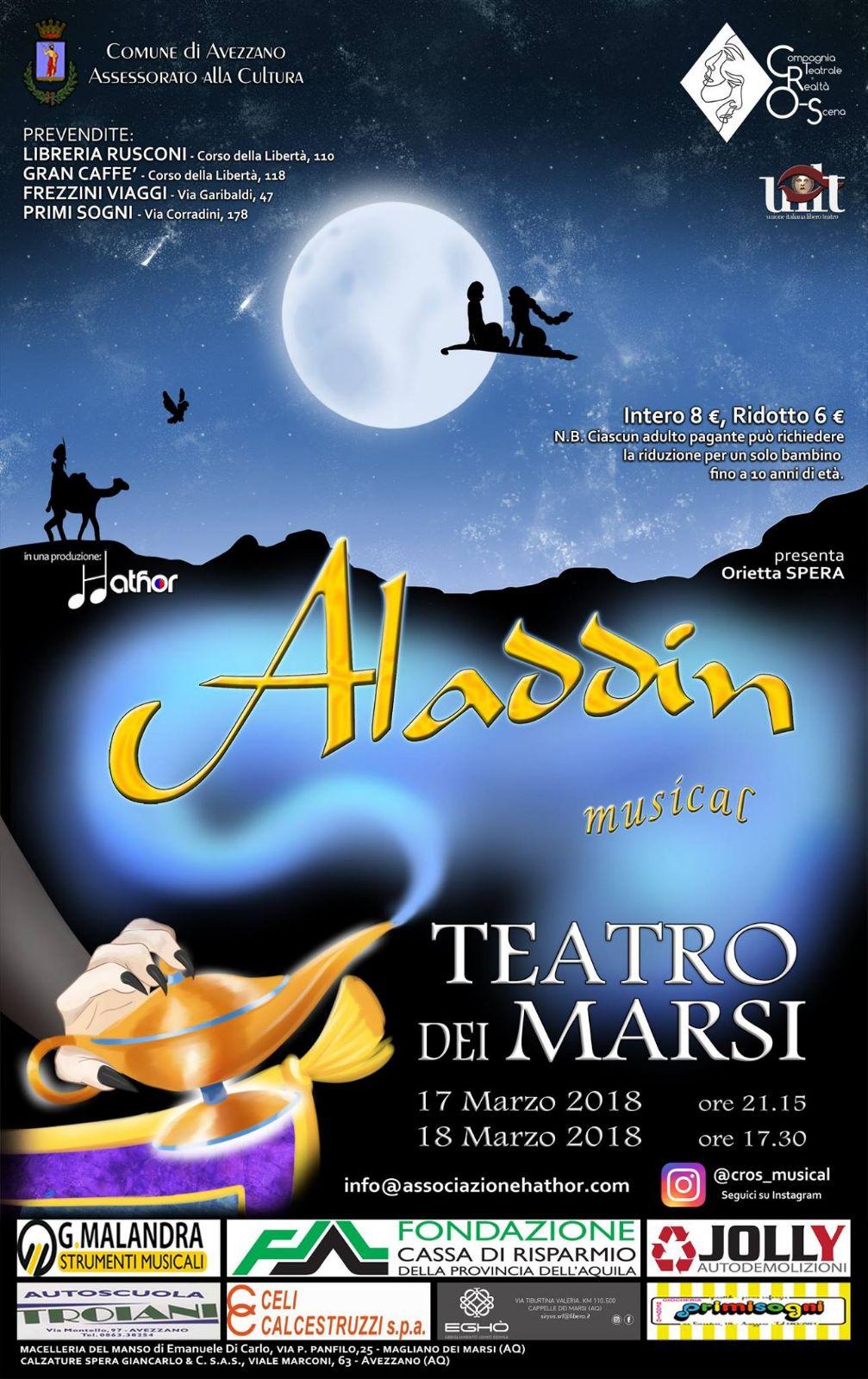 Aladdin il musical: Realtà O-Scena torna al Teatro dei Marsi