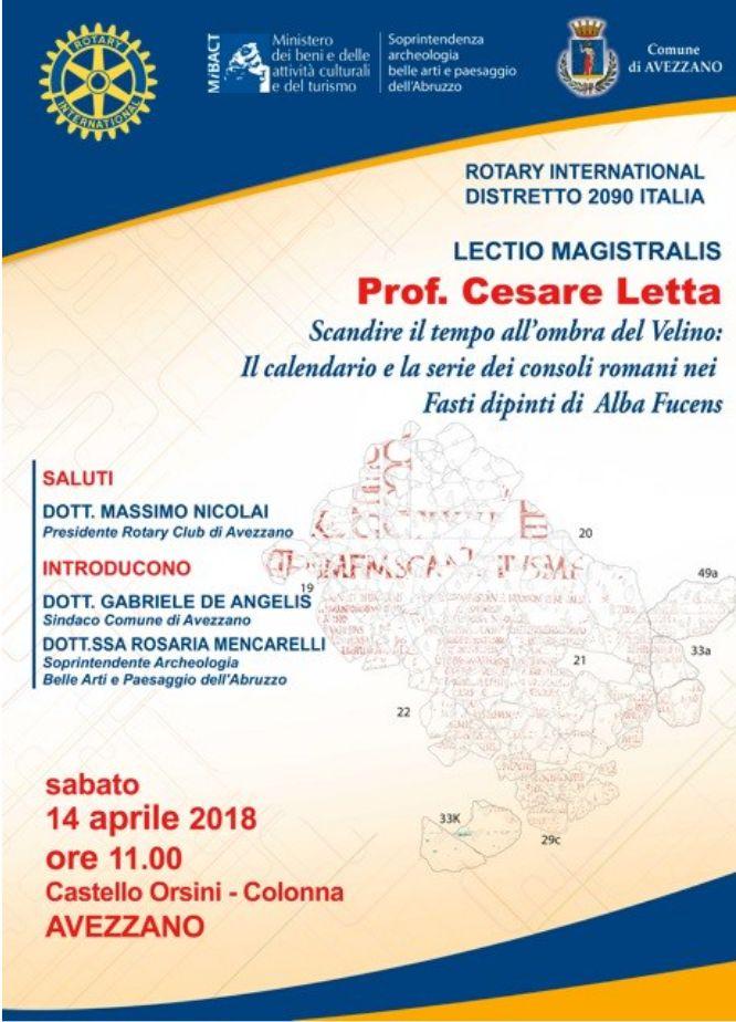 Avezzano: Lectio Magistralis del professore marsicano Letta al Castello Orsini