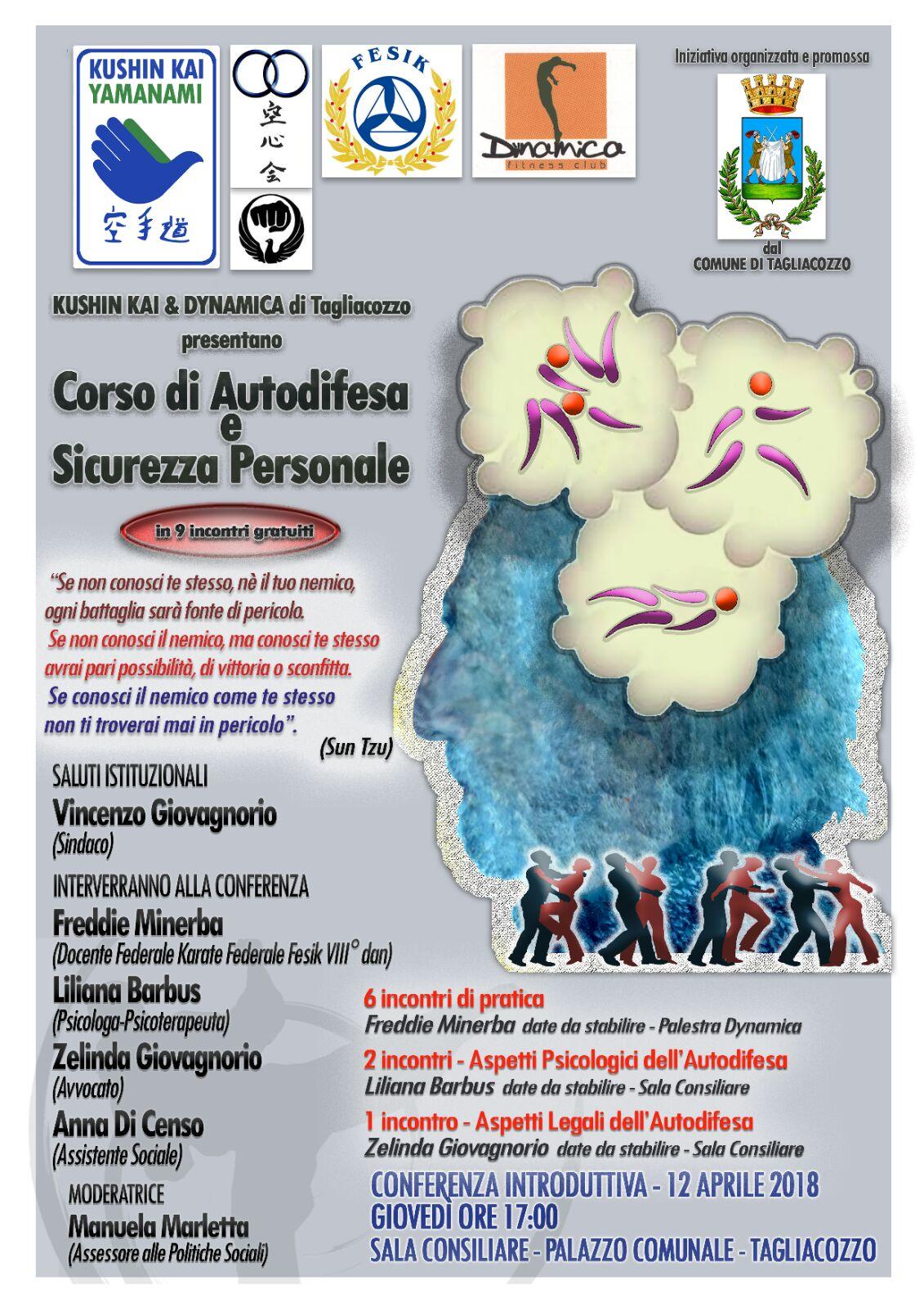 Il 12 aprile a Tagliacozzo si parla di sicurezza personale e autodifesa