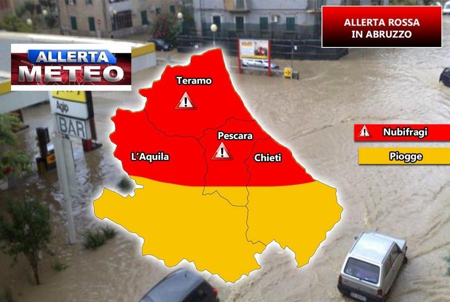 """Allerta Meteo """"rossa"""" in Abruzzo"""
