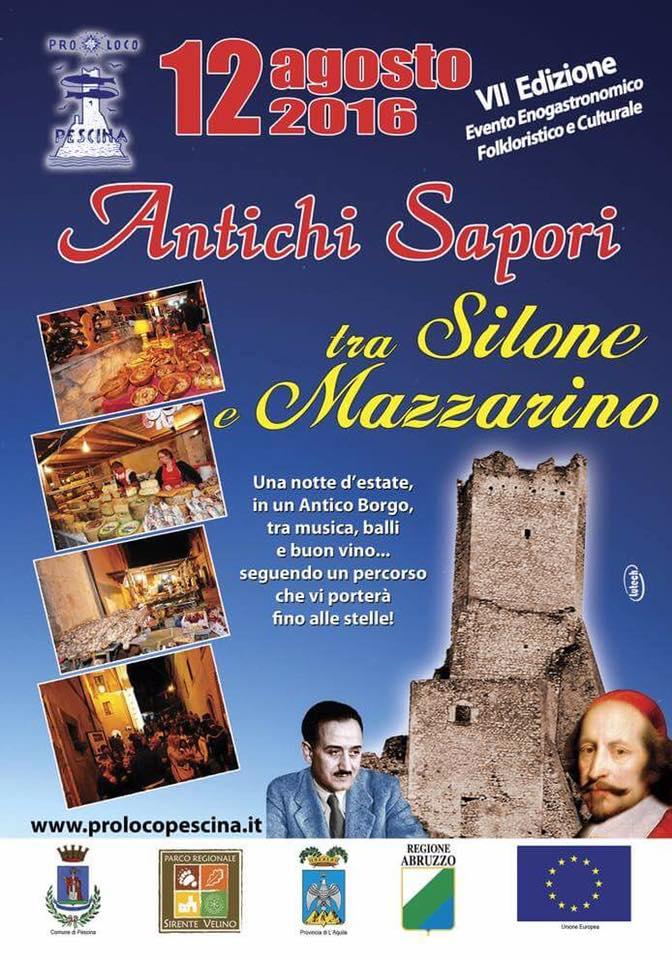 """""""Antichi Sapori tra Silone e Mazzarino"""" il 12 agosto a Pescina"""