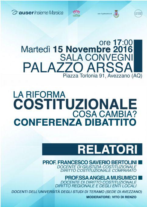 """Conferenza-dibattito """"La riforma costituzionale: Cosa cambia?"""""""