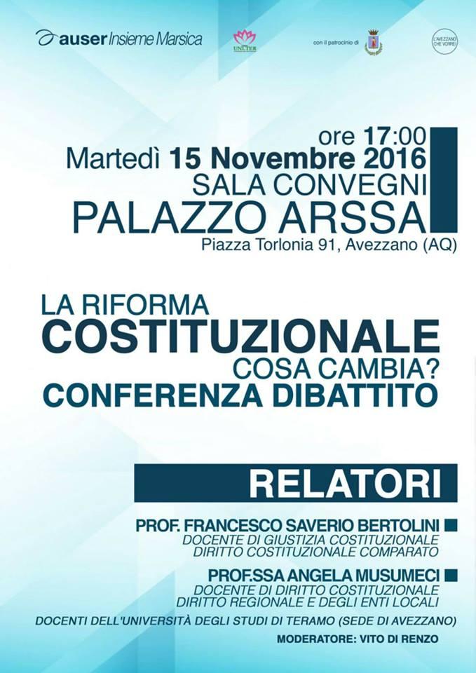 Riforma costituzionale, oggi il convegno con Bertolini e Musumeci