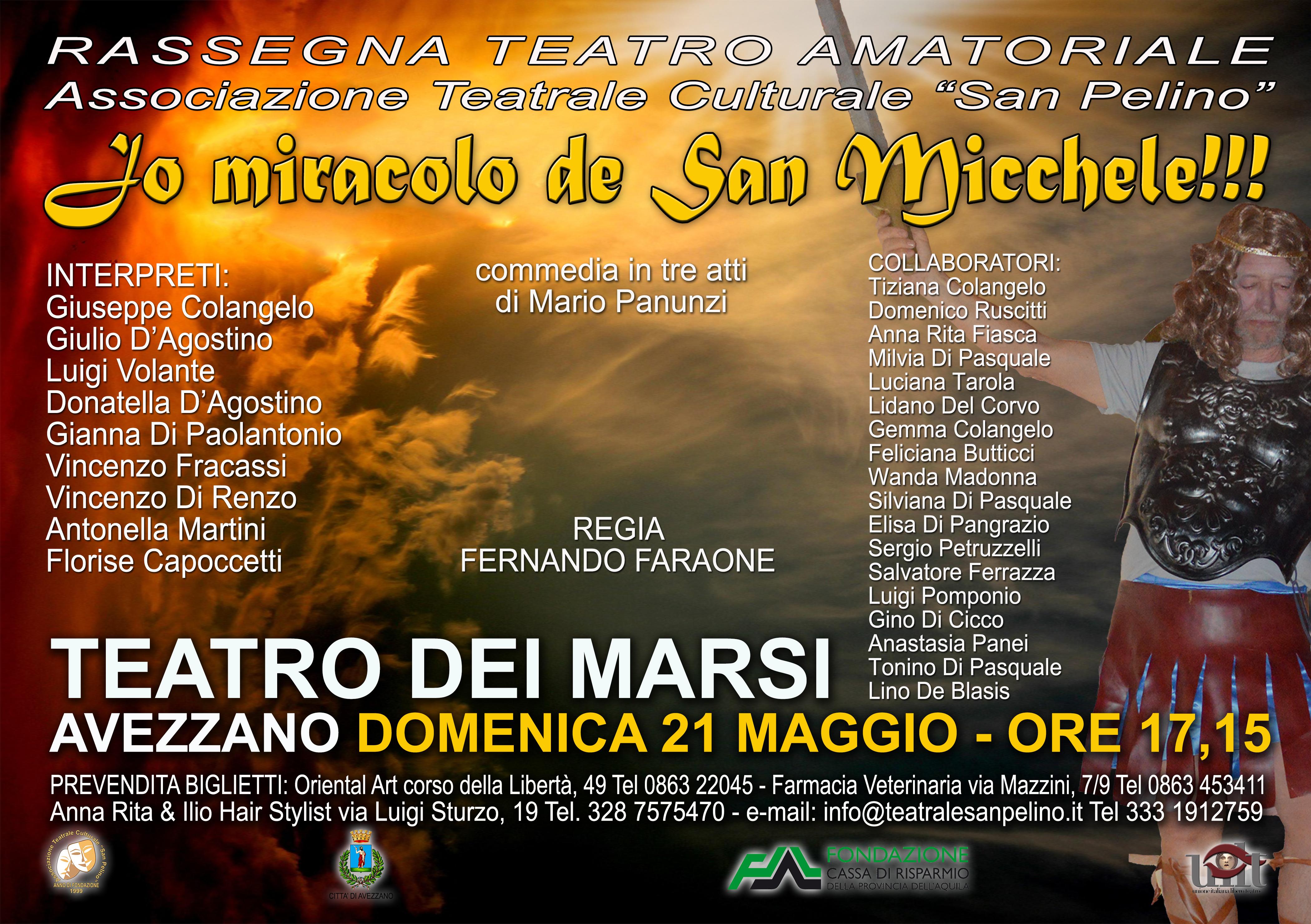 """La compagnia teatrale di San Pelino presenta la commedia """"Jo miracolo de San Micchele"""""""