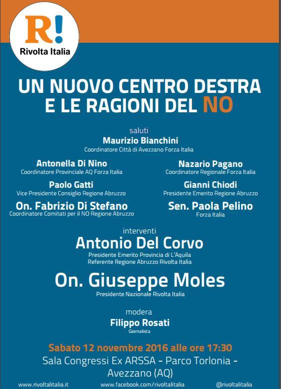 RIVOLTA ITALIA AD AVEZZANO CON L'ON. GIUSEPPE MOLES E ANTONIO DEL CORVO. INCONTRO PUBBLICO PER SOSTENERE IL NO.
