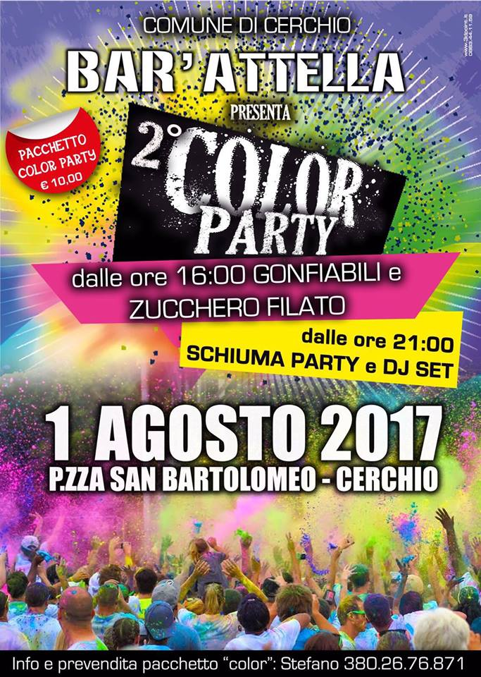 Color party, a Cerchio la seconda edizione con barman acrobatici e gonfiabili per bambini