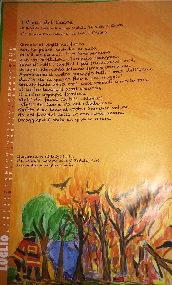 Il componimento della classe della maestra avezzanese Emanuela Scipioni nel calendario 2019 dei Vigili del Fuoco