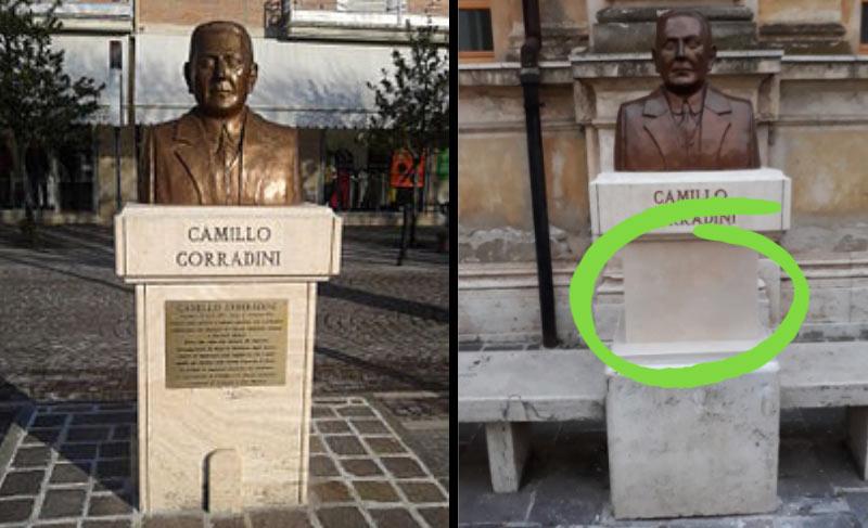 """""""Messaggi dall'aldilà"""" per il busto di Corradini"""