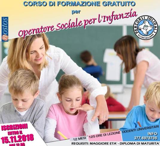 Al via le iscrizioni per il corso di formazione gratuito per operatore socio sanitario (sociale) per l'infanzia