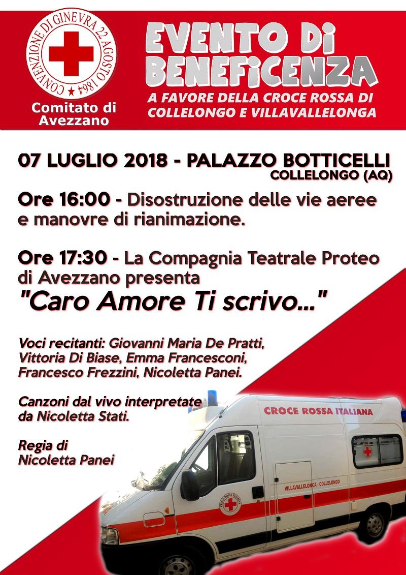 Evento in beneficenza a favore della Croce Rossa di Collelongo e Villavallelonga