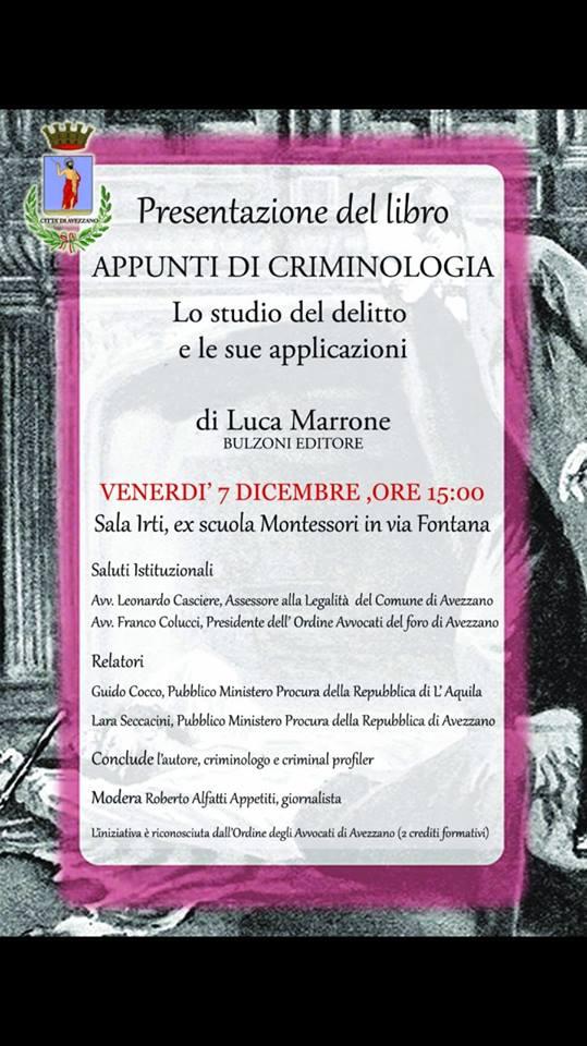 """Presentazione del libro """"Appunti dicriminologia"""" di Luca Marrone"""