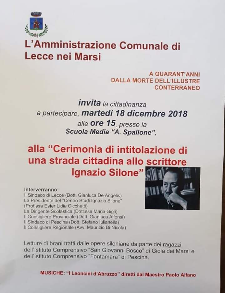 Lecce nei Marsi, una strada cittadina dedicata allo scrittore Ignazio Silone