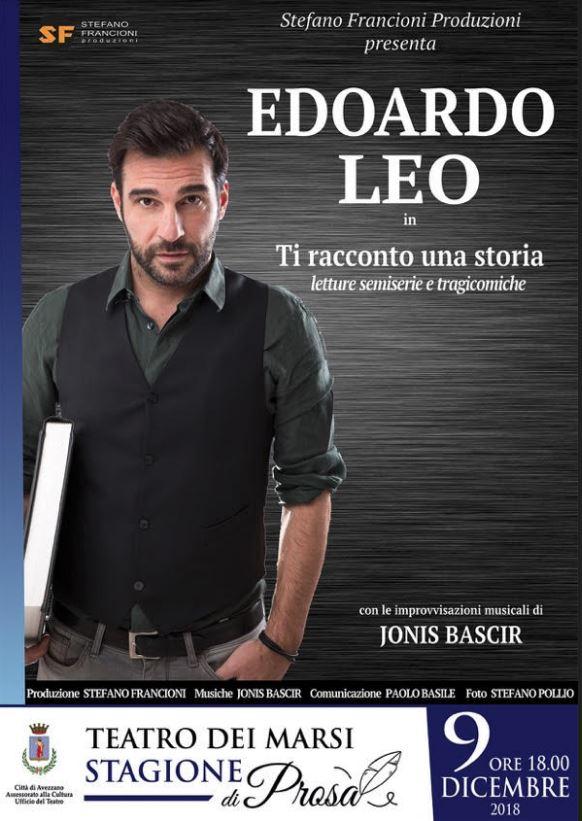 """Edoardo Leo con """"Ti racconto una storia, letture serie e tragicomiche"""""""