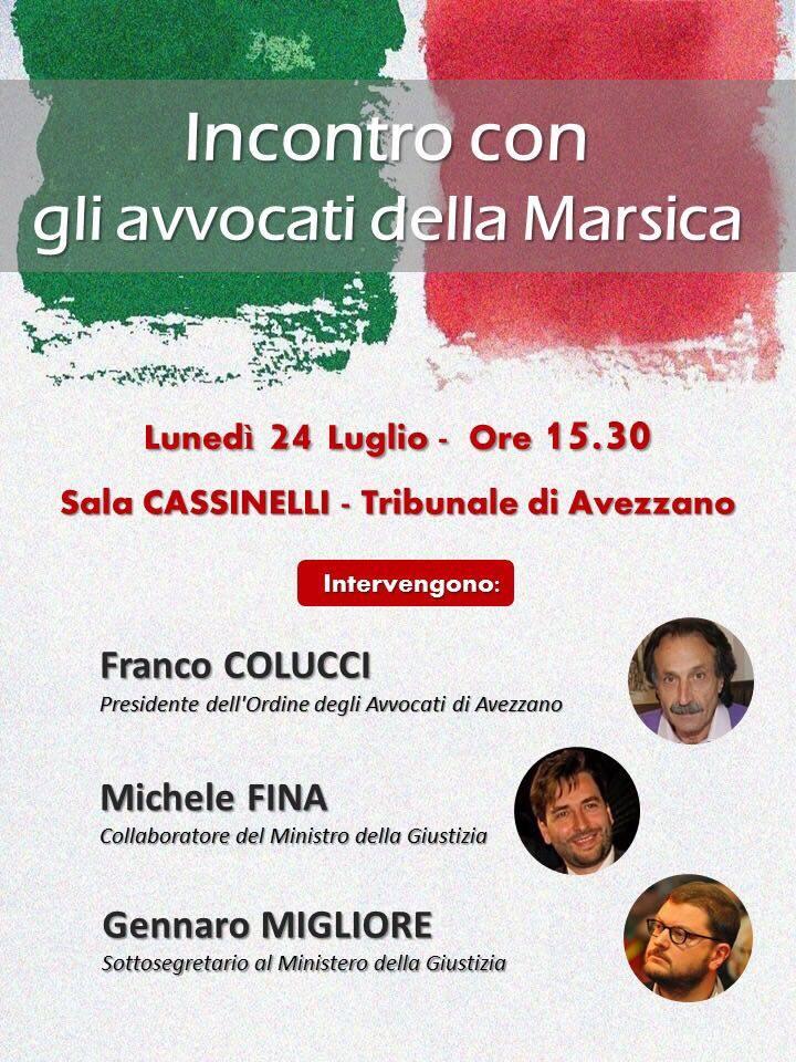 Incontro con gli avvocati della Marsica, Michele Fina incontra con il sottosegretario Migliore il foro di Avezzano